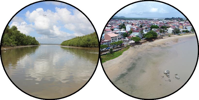 Littoral dans la région de Cayenne en 2011 et survol de Cayenne par drone en 2017.